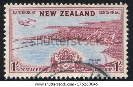 NEW ZEALAND - CIRCA 1950: stamp printed by New Zealand, shows View of Timaru, circa 1950 - stock photo
