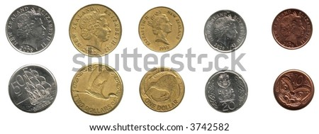 New Zealand Coins (back and front) - $1, $2, 50c, 20c and 10c - stock photo