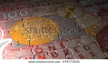New Zealand Dollar Puzzle - stock photo