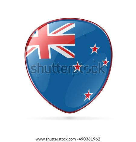 New Zealand Flag Icon, isolated on white background.