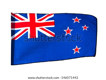New Zealand flag in the wind on a white background - stock photo