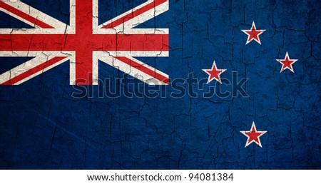 New Zealand flag on a cracked grunge background - stock photo