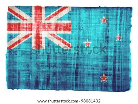 New Zealand flag on original papyrus background - stock photo