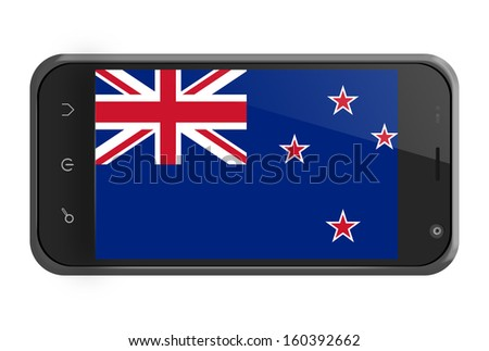 New Zealand flag on smartphone screen isolated on white - stock photo