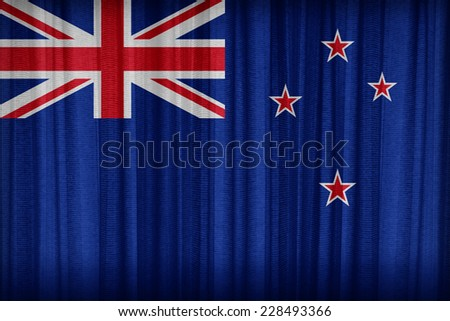 New Zealand  flag pattern on the fabric curtain,vintage style - stock photo