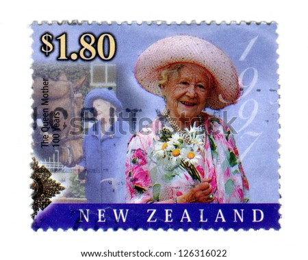 NEW ZEALAND JULY 27: Special edition commemorative stamp issued to mark the 100th birthday of HM. Queen Elizabeth the Queen Mother, on 27th July 2000 in New Zealand. She is depicted here in 1997. - stock photo
