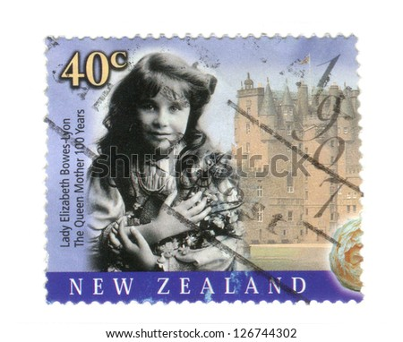 NEW ZEALAND JULY 27: Special edition commemorative stamp issued to mark the 100th birthday of HM. Queen Elizabeth the Queen Mother, on 27th July 2000 in New Zealand. She is depicted here in 1907. - stock photo