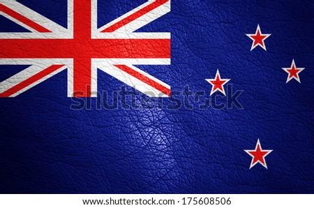 New Zealand  leather textured flag closeup - stock photo