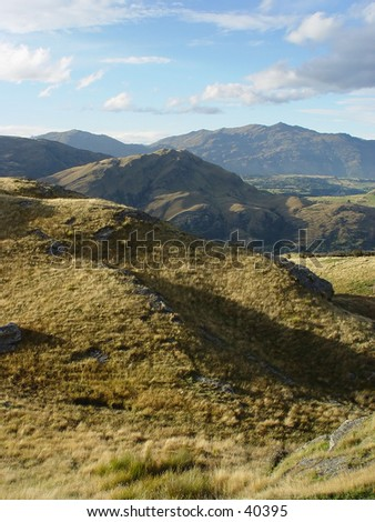 New Zealand mountain view - stock photo