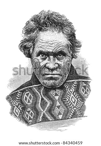 New Zealand native chief with tattooed face. Illustration source: Scribner's Magazine printed in 1870.