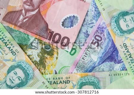 New Zealand paper money notes - stock photo