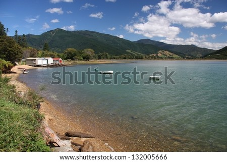 New Zealand. Queen Charlotte Sound - famous scenic tourism destination in Marlborough region.