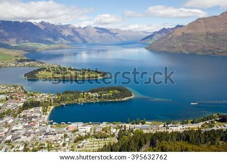 New Zealand, Queenstown, Lake Wakatipu - stock photo