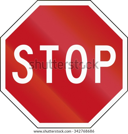New Zealand road sign R2-1 - Stop sign.