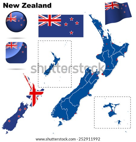 New Zealand set. Detailed country shape with region borders, flags and icons isolated on white background. - stock photo