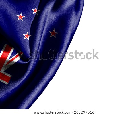 New Zealand waving silky flag isolated on white background