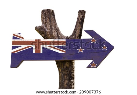 New Zealand wooden sign isolated on white background - stock photo