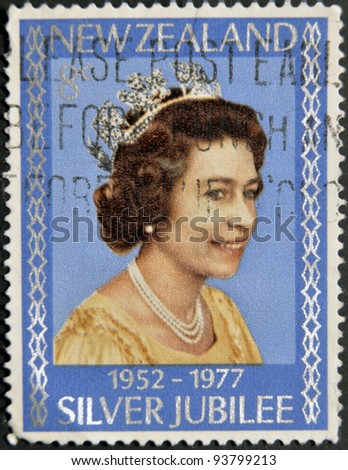 NEW ZELAND - CIRCA 1977: A Stamp printed in New Zealand showing Portrait of Queen Elizabeth, circa 1977. - stock photo