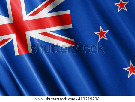 New Zeland waving flag close
