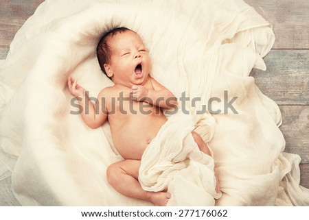 Newborn baby amazing beautiful portrait  - stock photo