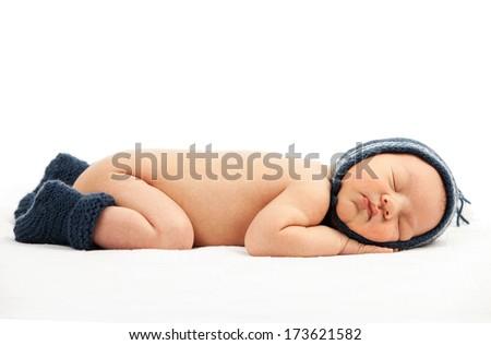 Newborn baby boy asleep  - stock photo