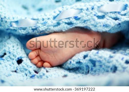 Newborn baby boy feet - stock photo