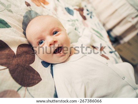 newborn baby child family home - stock photo