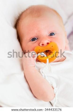 Newborn baby closeup - stock photo