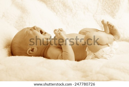 Newborn baby, crying  - stock photo