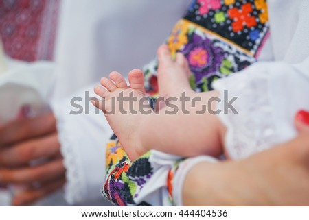 Newborn baby feet - stock photo