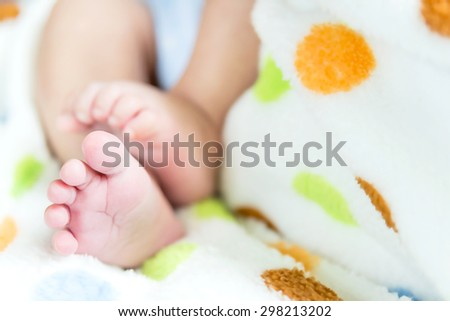Newborn baby feet close up - stock photo