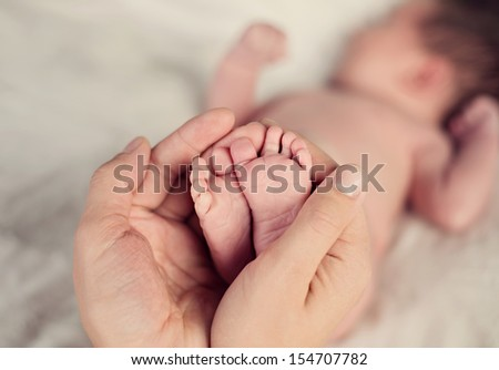 newborn baby feet in parents hands - stock photo