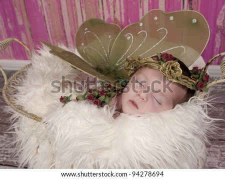 Newborn baby girl asleep in her bed. She is wearing green wings and a crown of roses she looks like a fairy princess.