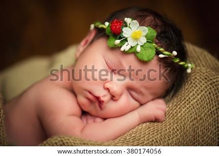 Newborn baby girl has sweet dreams in strawberries - stock photo