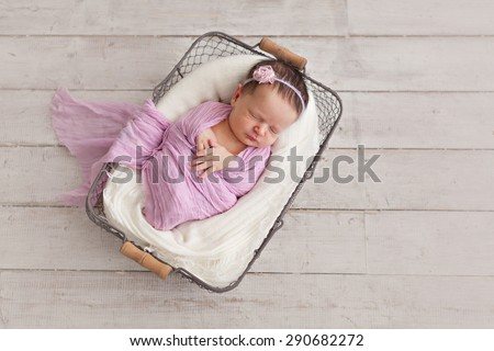 Newborn baby girl posing in basket - stock photo
