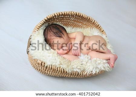 Newborn baby in  basket on white background  - stock photo