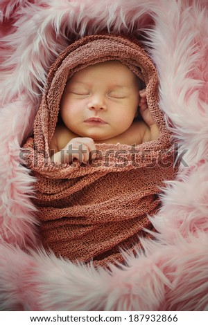 Newborn Baby in Wrap and Blanket - stock photo
