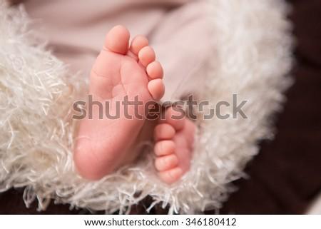 newborn baby legs - stock photo