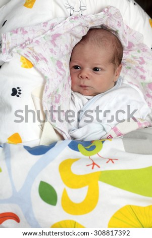 Newborn baby lying on the diaper at home - stock photo