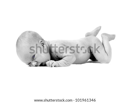 Newborn baby on the light background