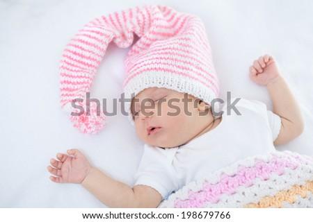 newborn baby one month age on white - stock photo