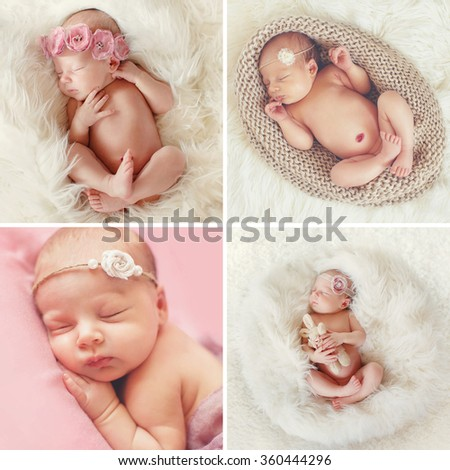 Newborn baby peacefully sleeping. Little newborn baby few days, sleeps. babygirl. infant. cute newborn baby. Sleeping baby girl. Collage of four pictures.  - stock photo
