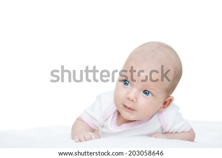 newborn baby seven weeks age on white background