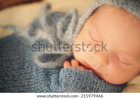 Newborn Baby Sleeping Wrapped in Blanket in Hat - stock photo