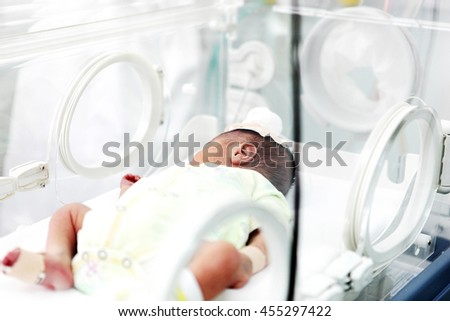 Newborn Care in the Hospital. - stock photo