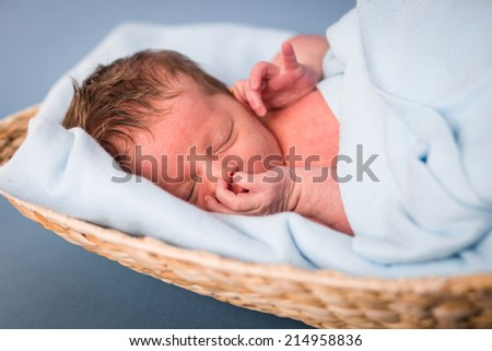 Newborn caucasian girl - stock photo