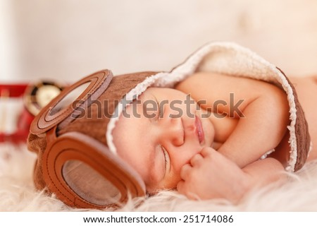 newborn dreams. adorable infant baby sleeping - stock photo