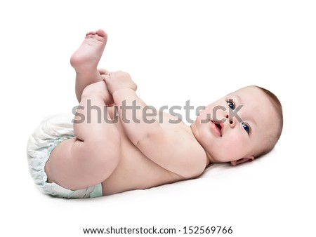 newborn in a diaper - stock photo