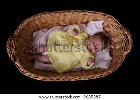 newborn in the basket on the black background - stock photo