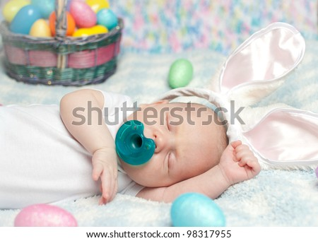 Newborn infant baby boy wearing bunny stock photo 98317955 newborn infant baby boy wearing bunny ears with an easter basket negle Image collections